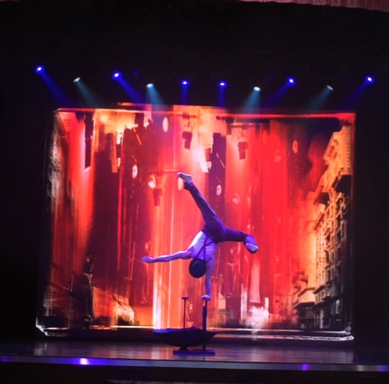 Side bend handstand on cruise ship