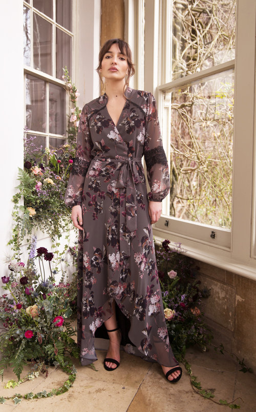 9b39ed1117 Bridesmaid Long Sleeve Floral Wrap Dress ...