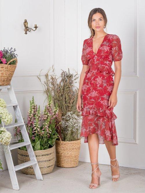 54ecadc4db Red Floral Peplum Waist Dress with Drop Hem — HOPE   IVY