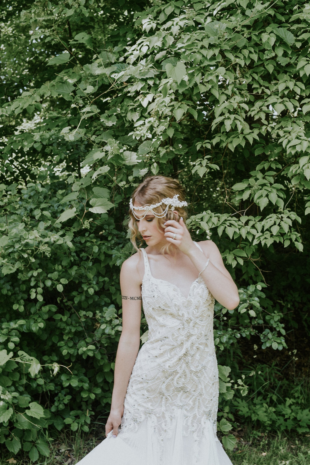 Styled Shoot Pearl beaded dress Ontario Canada