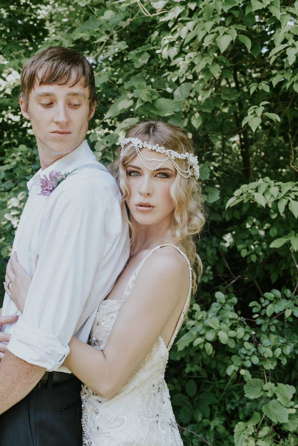 Pearl beaded bridal dress and headpiece styled shoot Ontario Canada