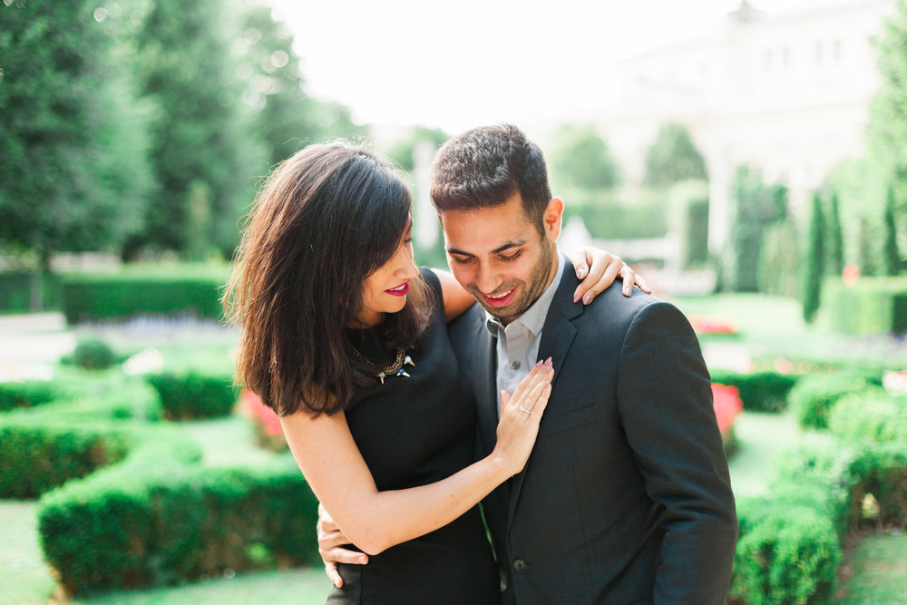 Marriage proposal in Volksgarten Hofburg Vienna Austria by Film photographer Michelle Mock