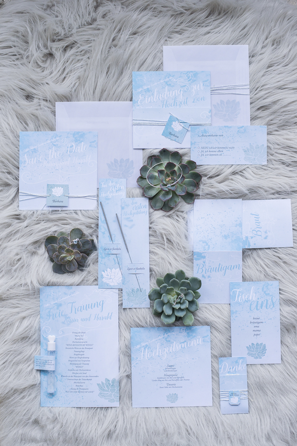 Baby blue wedding stationery at Schloss Laudon Vienna Austria by Barbara Wenz Photography