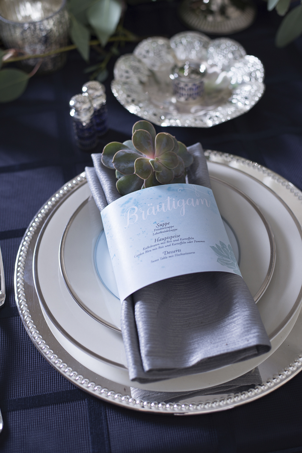 Blue grey silver table setting decoration wedding inspiration at Schloss Laudon Vienna Austria by Barbara Wenz Photography