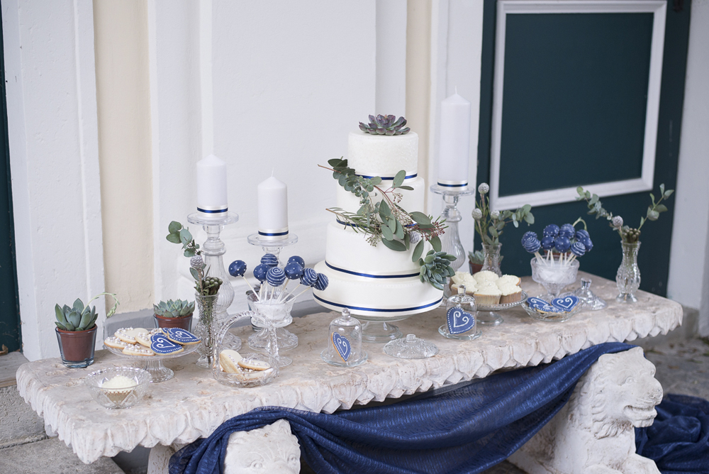 Sweet Table blue silver succulents wedding cake, cookies, cake pops Barbara Wenz Photography