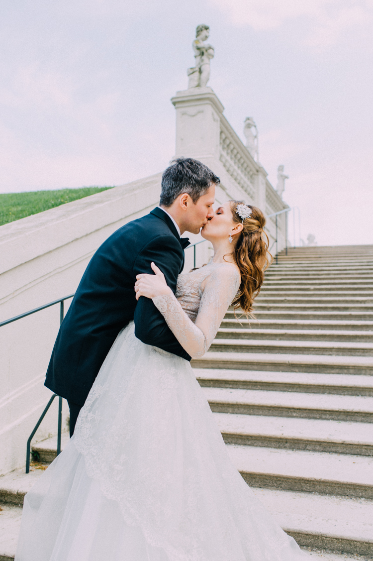 Engagement elopement shoot by international wedding photographer Ladies and Lord at Belvedere Gardens Vienna Austria