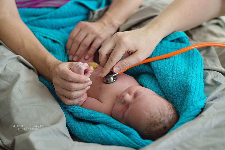 Home birth newborn exam in Denver, Colorado