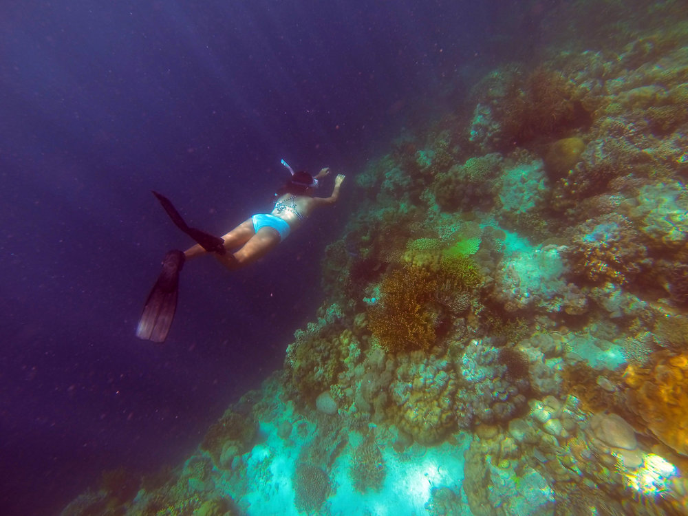 The Millennial Mermaid's  sister  on one single breath, carefully dives above some of the coral formations that can be found around Mansud Wall.