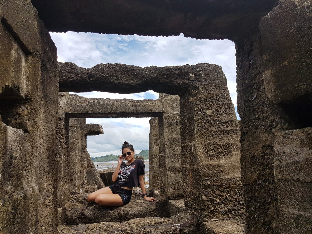 My sister enjoying her own little space in the Ruins.