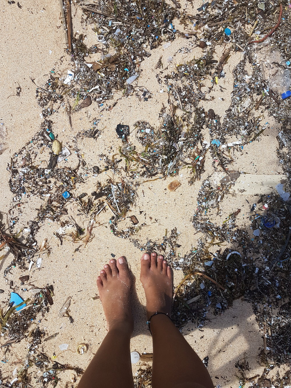 These kind of trash mixed with microplastics lined up the whole stretch of the beach.