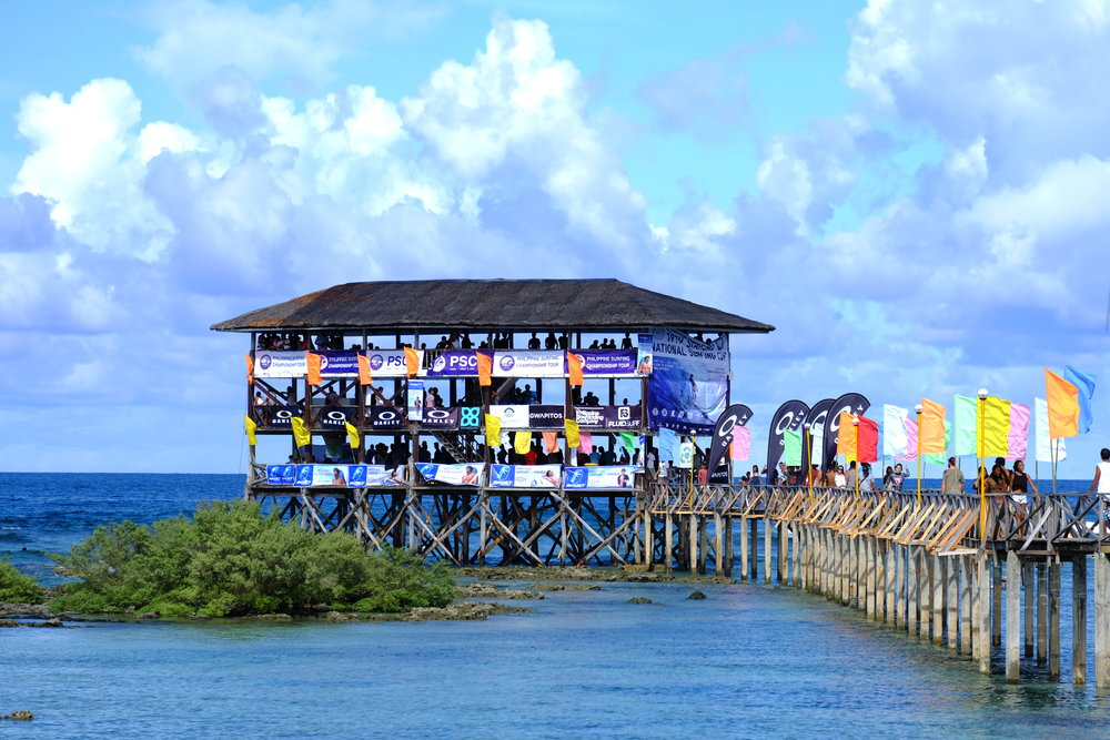 The iconic tower at Cloud 9 in Siargao is in its festive mood for the competition season.