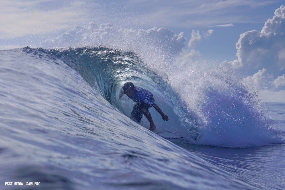 Siargao's Mitzburg Go getting barreled in the second day of the PSCT. Photo by Gaps Sabuero