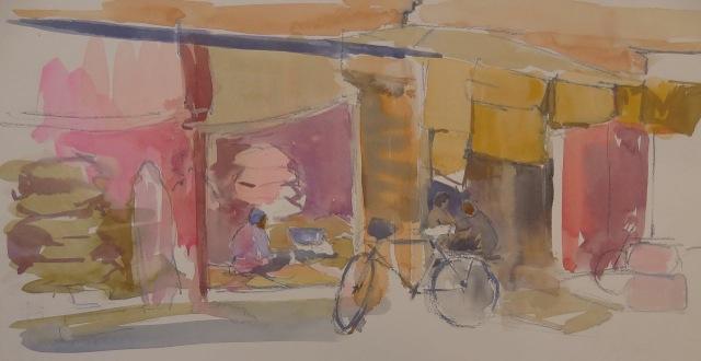 'Grain Market, Jodhpur' gouache 19 x 37cm .jpg