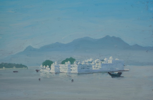 The Lake Palace, Udaipur, oil on board, 18 x 23 cm.jpg