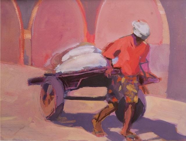 Threlfall, Man with Handcart, cohin, guache . 25.5 x 20.5 cm.jpg