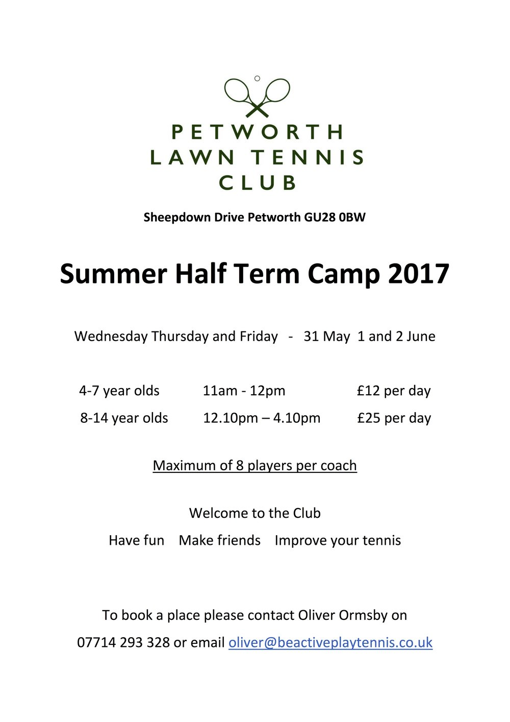 Half Term Junior Tennis at Petworth
