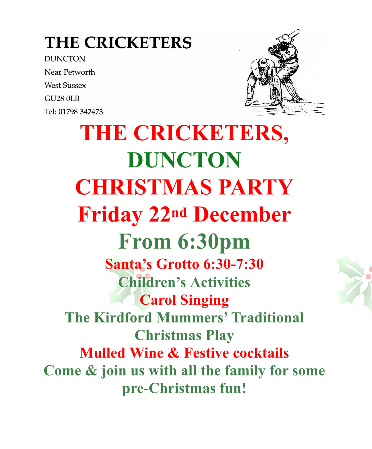 The Cricketers Duncton - Christmas Party