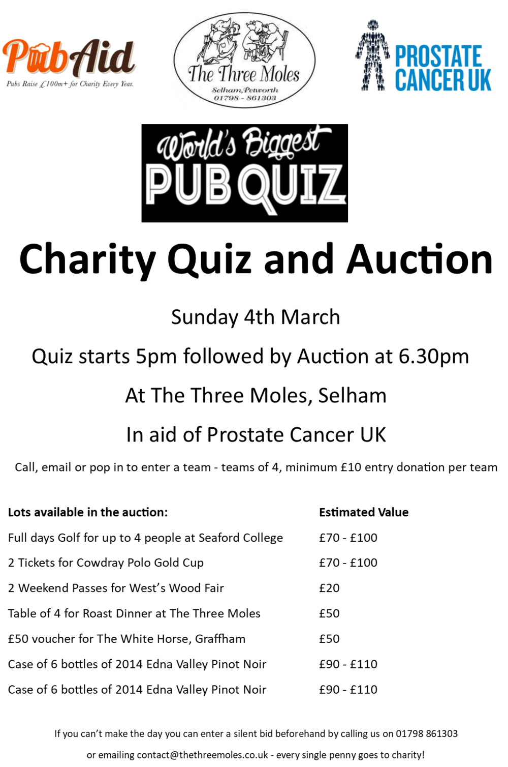 Worlds Biggest Pub Quiz and Auction in aid of Prostate Cancer UK