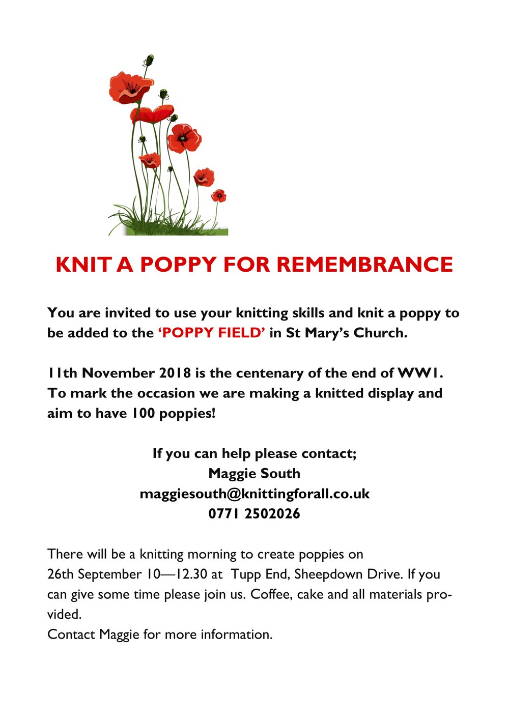 KNIT A POPPY FOR REMEMBRANCE
