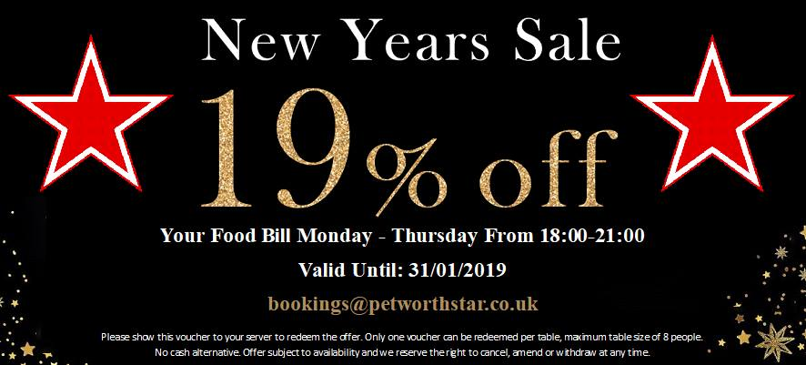 New Years Sale - 19% Off Your Food Bill