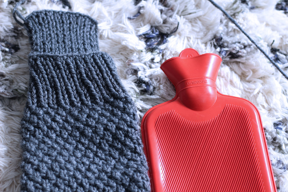 Knitted Hot Water Bottle Cover Bizzle Bees