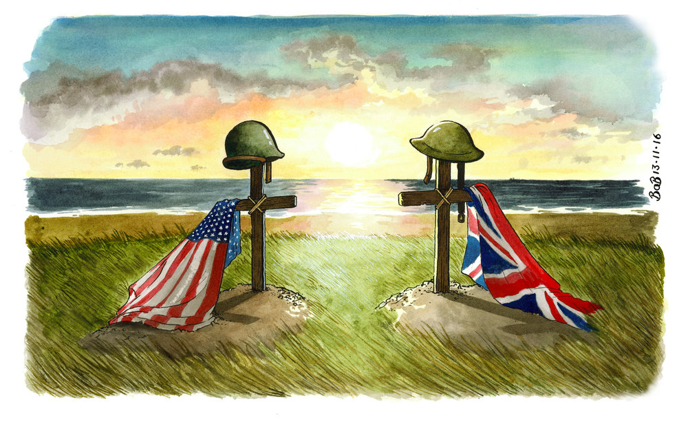 An image to mark Remembrance Sunday. At a time when relations between America and the rest of the world seem so uncertain, it seems important to reflect on what Britain and the USA have accomplished by working together in the past.
