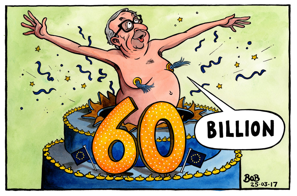 As The EU celebrated its 60th anniversary, Jean-Claude Juncker once again declared that leaving the union would cost the UK between 50 and 60 billion euros.