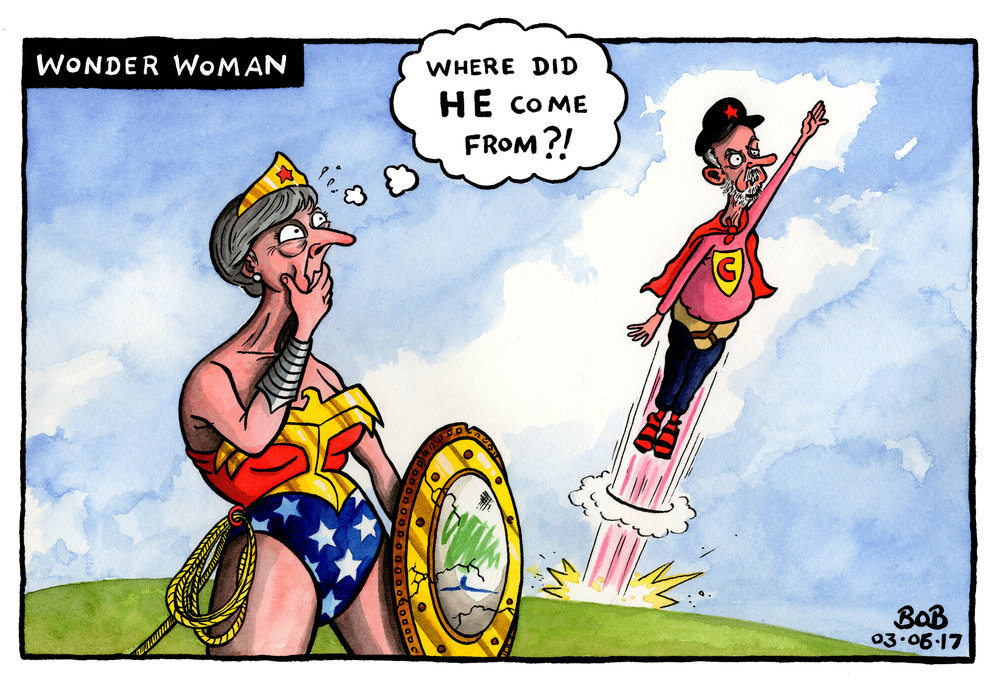 With just days to go until the general election, Jeremy Corbyn suddenly appears to present a real threat to Theresa May's chances of winning a majority. The new Wonder Woman film opens in cinemas.