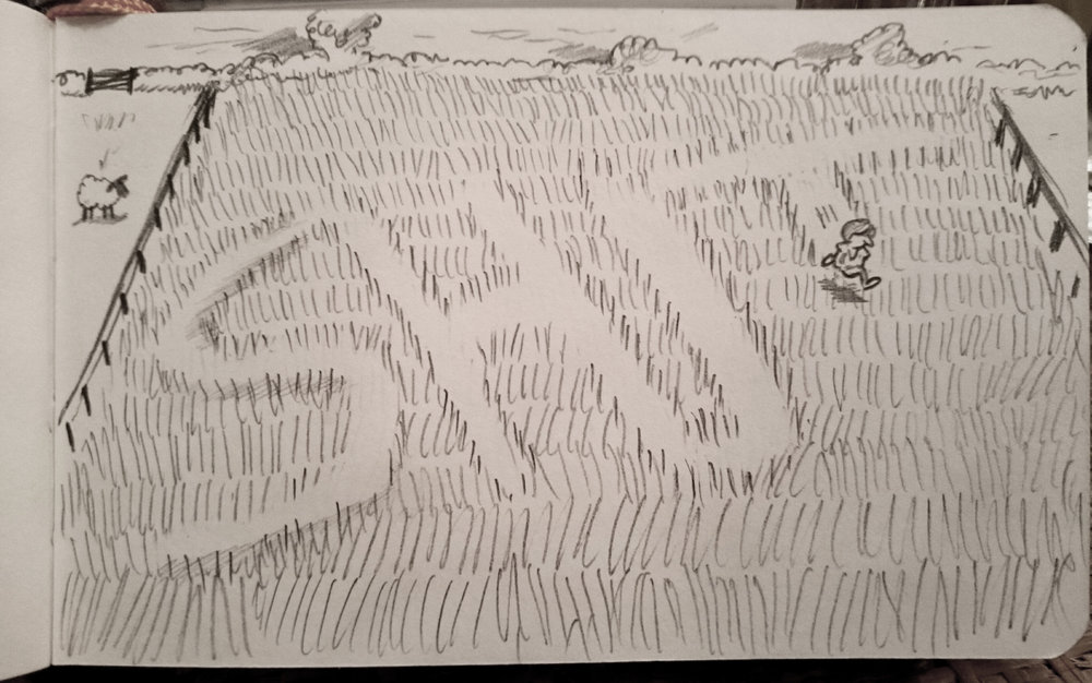I drew this on election night when the news of the exit poll hit the fan, so to speak. Theresa May's bizarre anecdote about running through fields of wheat seemed a perfect image to represent how much she would regret calling the election.