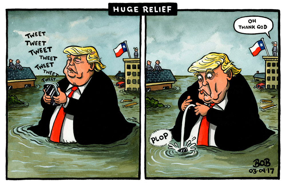 Donald Trump visits Texas and pledges a multi-million dollar relief package in the aftermath of hurricane Harvey.