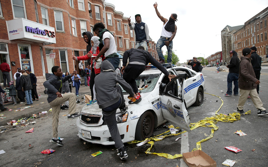 2015 Baltimore riot following the funeral of Freddie Gray [Photo: Chip Somodevilla/Getty Images]