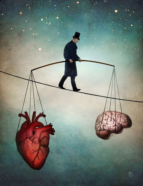 Formal education created a new model in which the heart and mind were separated.  Art by Christian Schloe