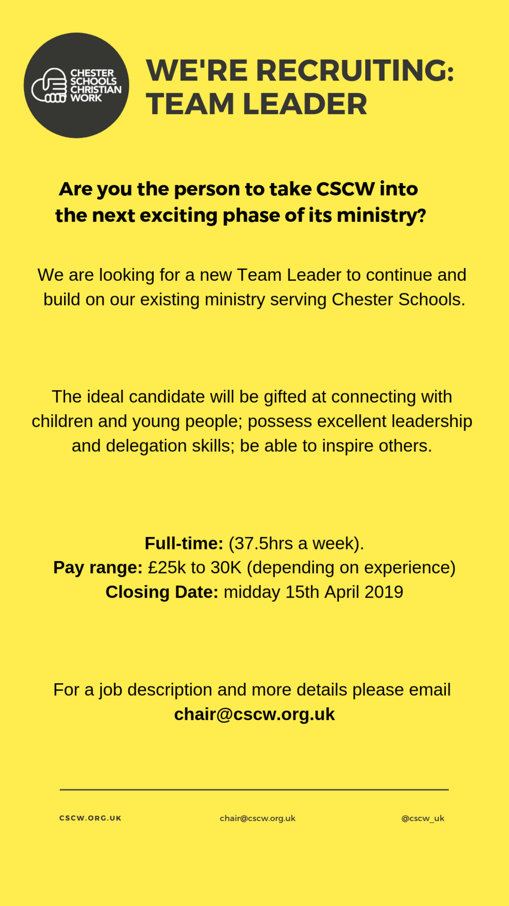 We are looking for a new Team Leader to continue and build on our existing ministry serving Chester Schools. The ideal candidate will be gifted at connecting with children and young people; possess excellent le (1).png