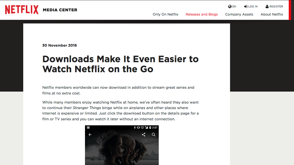 Netflix Streaming Download Announcement