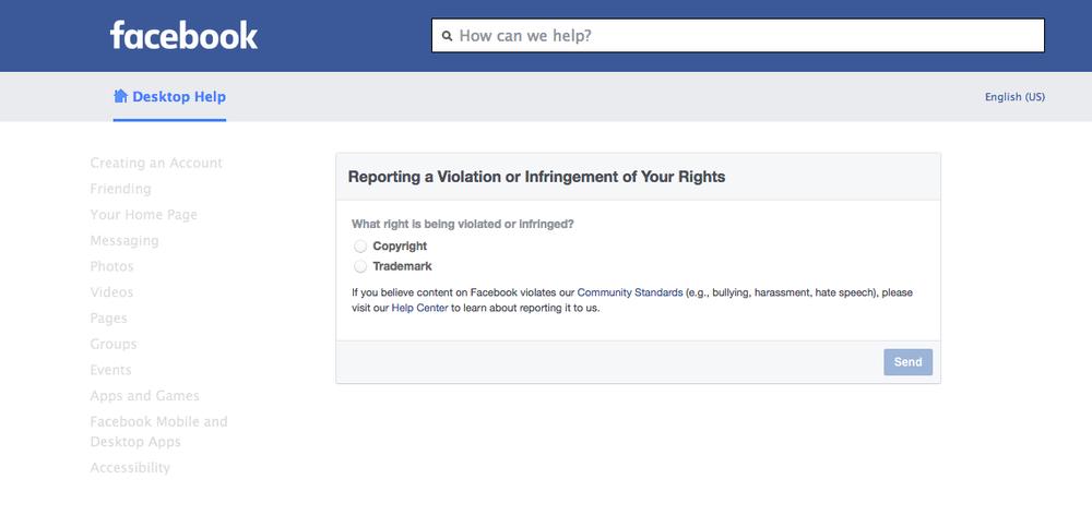 Facebook DMCA Takedown Notice