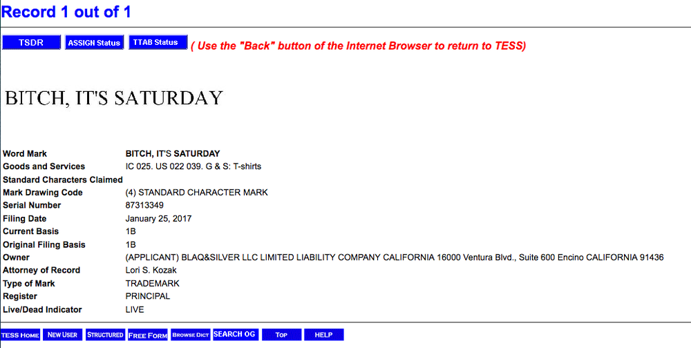 BITCH, IT'S SATURDAY trademark application info from the USPTO Trademark Electronic Search System database.
