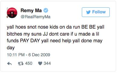 Remy Ma 2009 Tweet bitches my sons Nicki Minaj