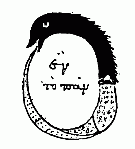 "Chrysopoeia of Cleopatra's Ouroboros, inscribed with the text ""One Is All"" in Aramaic"
