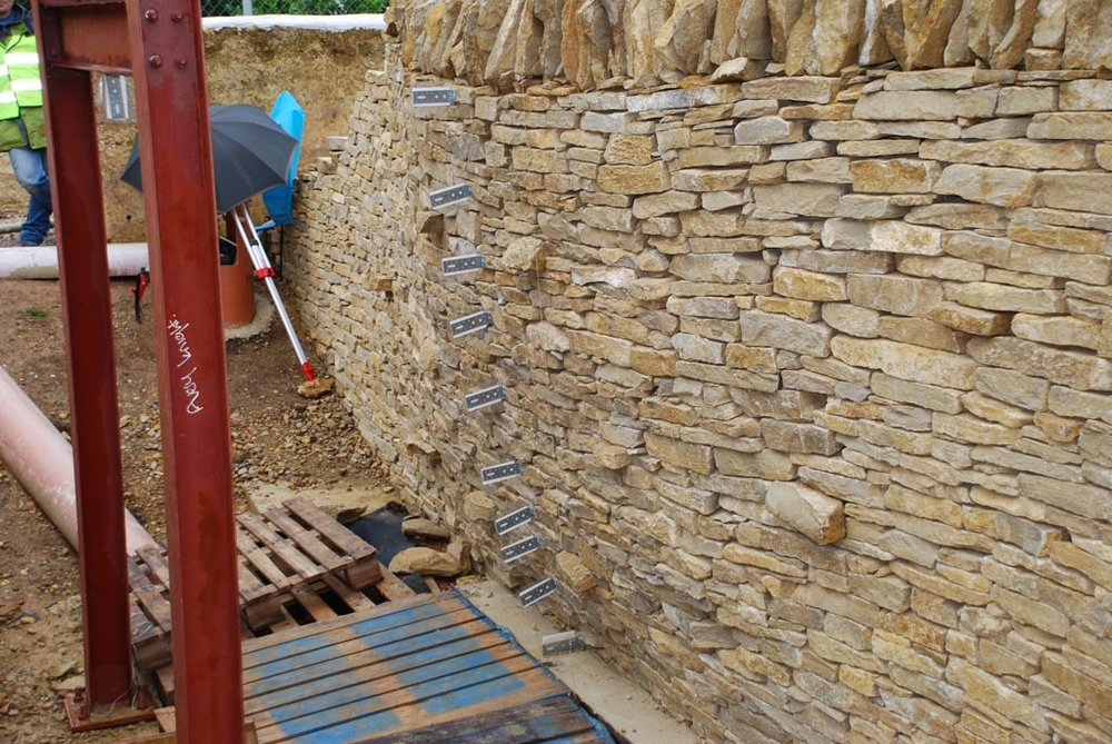 Full scale testing of a drystone retaining wall to failure