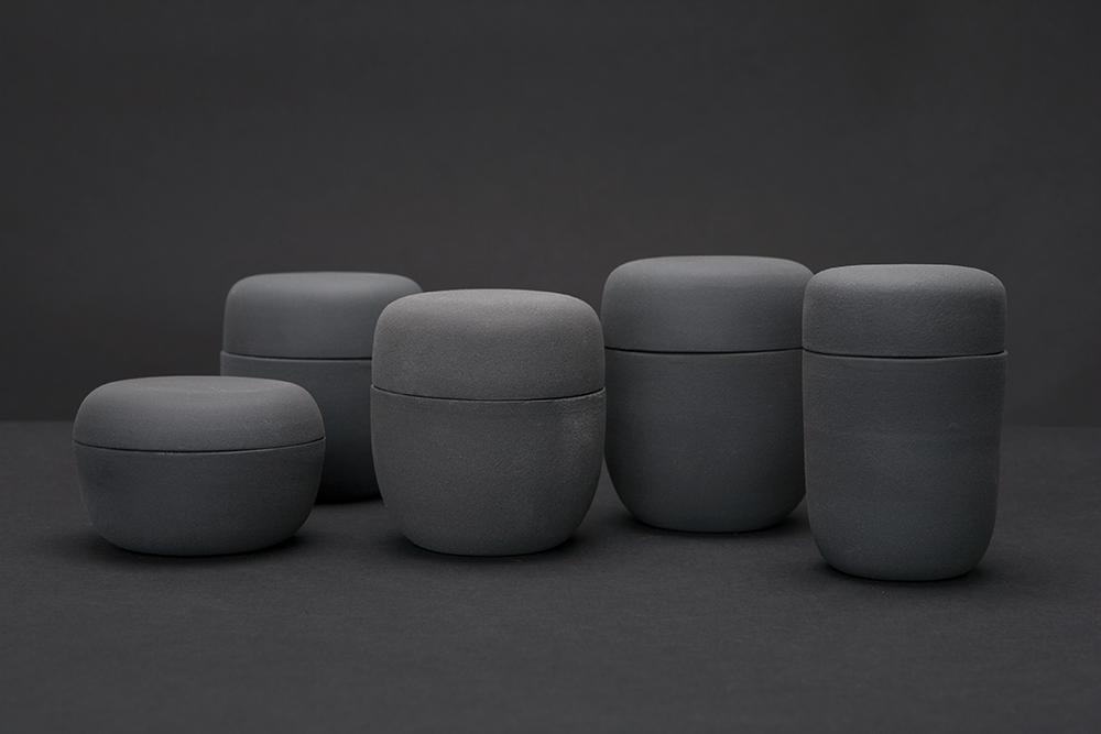 Containers series Porcelain and Ku Kamo glaze Kyoto, Japan 2014