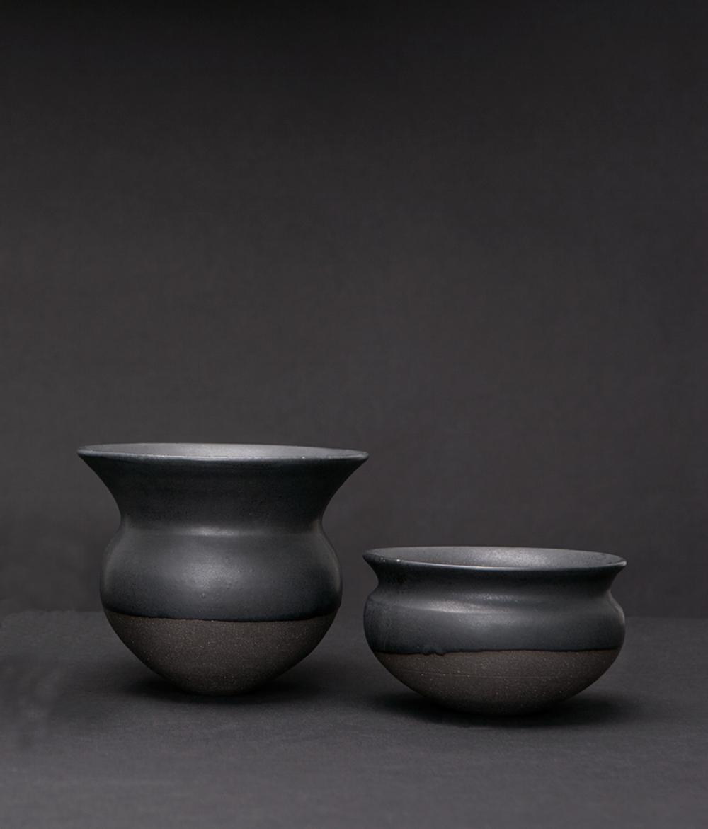 Water vessels series Stonware and Ku Kamo glaze Kyoto, Japan 2014