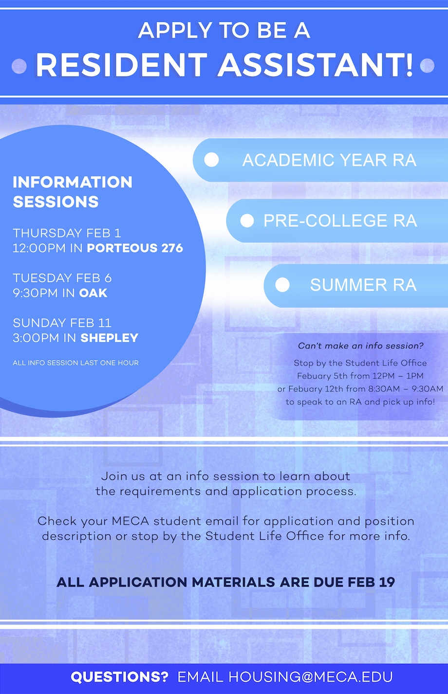 MECA RA Hiring Handouts + Flyers - 11 x 17 poster + double-sided half-letter handout.