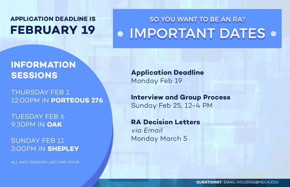 Half letter-sized two-sided handout with important dates and requirements for the application.