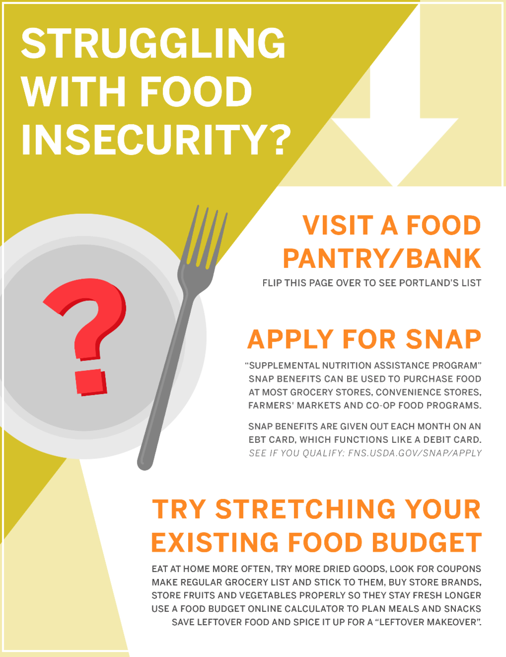 Food Insecurity Handout - Information on resources for MECA students.