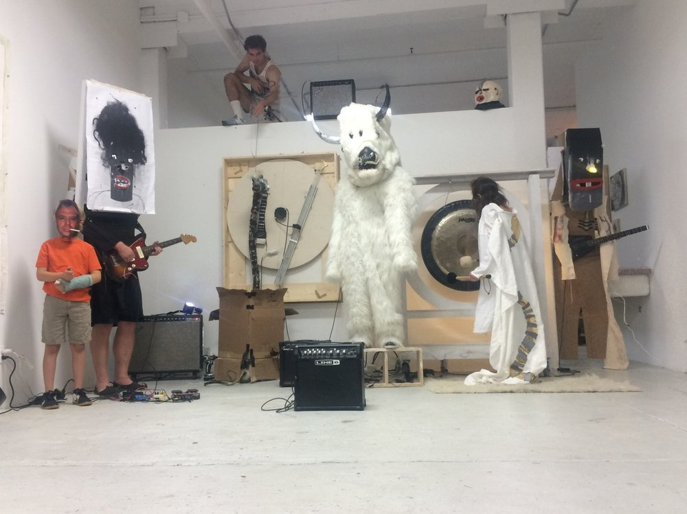 Dan Bainbridge's performance accompanying his exhibition  Bestiary , ART3 Gallery, Brooklyn, NY, June 13, 2015  © Dan Bainbridge 2015, photo Monika Fabijanska