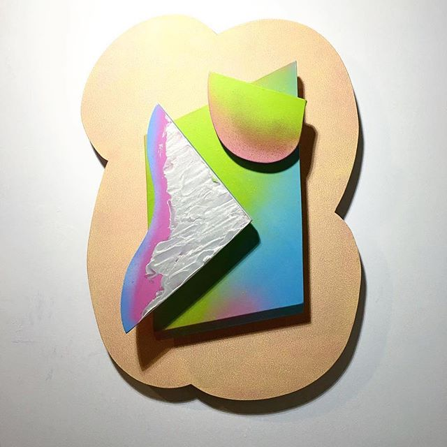 "Check out our very own @katiehectorart for new work and upcoming shows! Pictured is 'Tumblr Grl II' 24"" x 20"" Spray paint and acrylic on shaped boards 2017. #katiehector #katiehectorstudio #katiehectorart #studiolife #spraypaint"