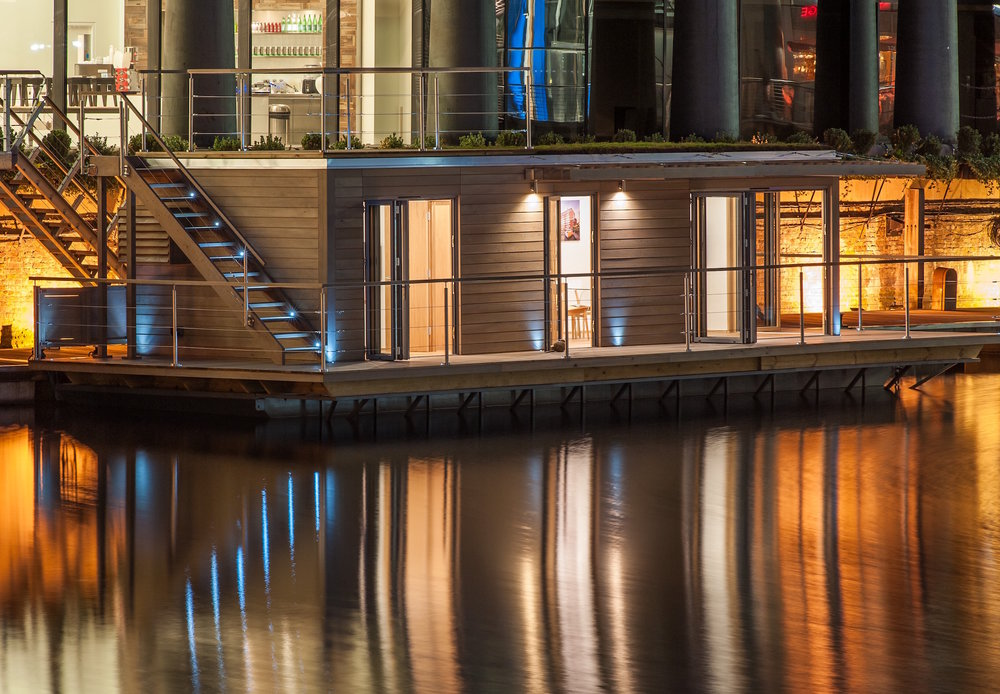 St Katharine Docks Creative hub at night