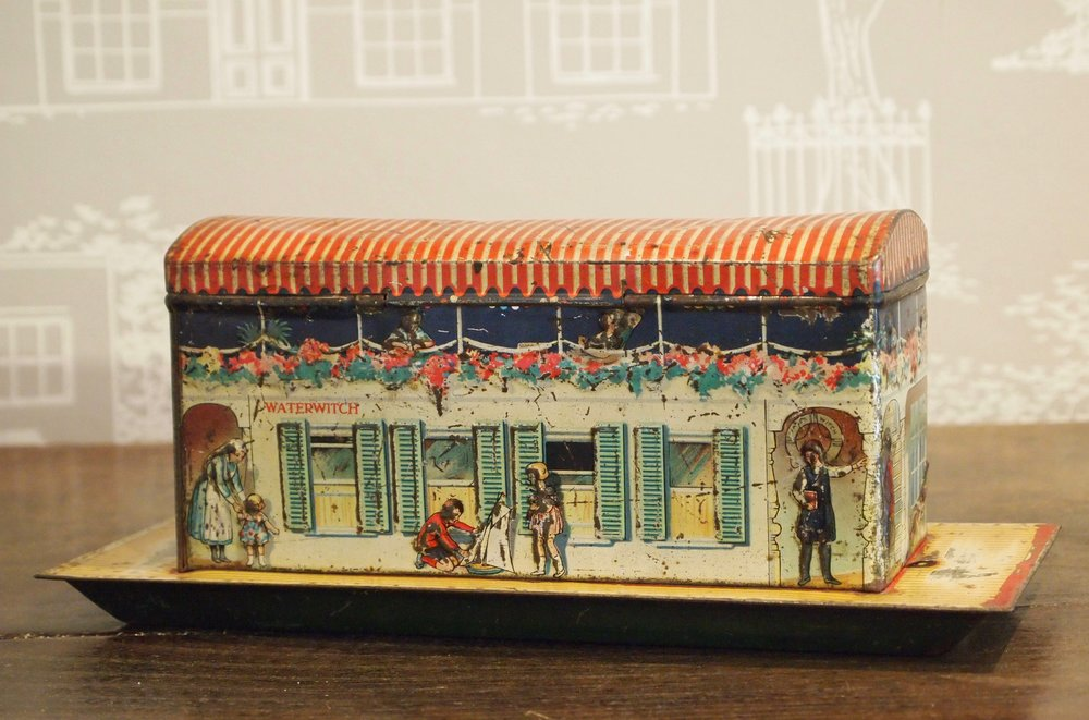 1926 Jacobs Biscuits tin toy packaging, Thames Houseboat Waterwitch