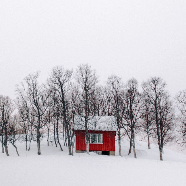 Red Cabin in the Snow