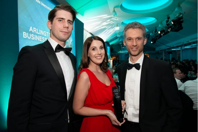 Ben, Amy and Chris from APAM collect the Business Park Innovation Award